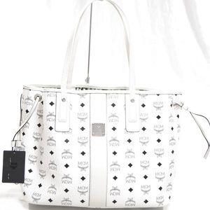MCM Medium Liz Reversible White Visetos Shopper